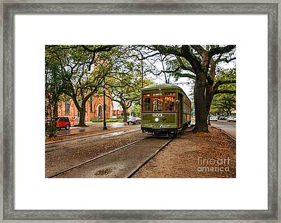 St. Charles Ave. Streetcar In New Orleans Framed Print by Kathleen K Parker