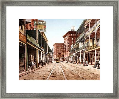 St Charles Street New Orleans 1900 Framed Print by Unknown