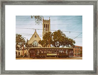 St. Charles Streetcar Driving By Christ Church Cathedral In New Orleans Garden District - Louisiana Framed Print by Silvio Ligutti