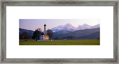 St Coloman Church And Alps Schwangau Framed Print