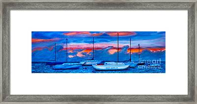 St Croix Sailboats At Sunset Painted In Oil Framed Print by Iris Richardson