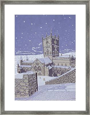 St David S Cathedral In The Snow Framed Print