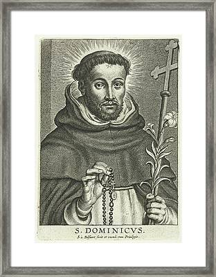 St. Dominic With Rosary And Lily Framed Print by Schelte Adamsz. Bolswert And Peter Paul Rubens
