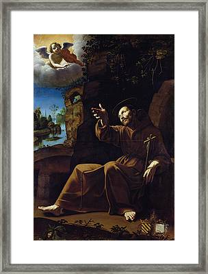 St. Francis Of Assisi Consoled By An Angel Musician Oil On Canvas Framed Print by Italian School
