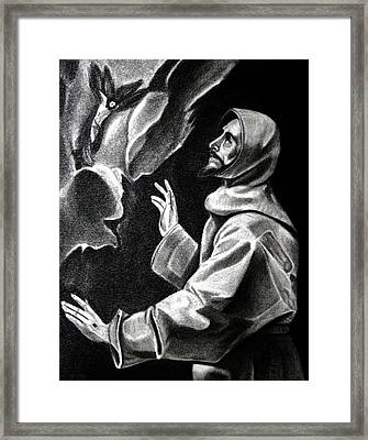 St Francis Of Assisi Framed Print by Enrique Garcia