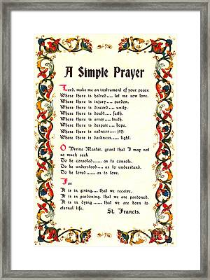 St. Francis Of Assisi Instrument Of Peace Framed Print by Desiderata Gallery