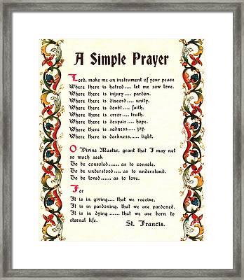 St. Francis Simple Prayer Framed Print