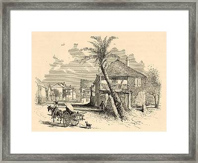 St. Francis Street In St. Augustine 1872 Engraving Framed Print by Antique Engravings