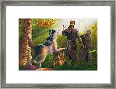 St. Francis Taming The Wolf Framed Print by Steve Simon