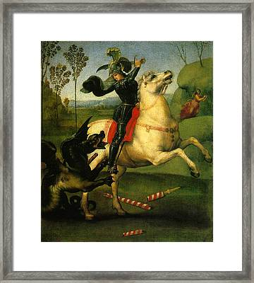 St George And Dragon Reproduction Art Work Framed Print
