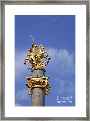 St George And The Dragon Statue In Tbilisi Framed Print by Robert Preston