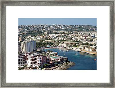 St George Bay, Aerial View, Malta Framed Print by Nico Tondini