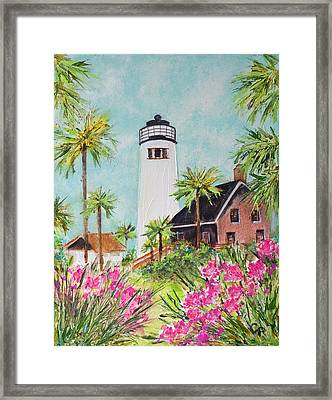 St. George Island's Lighthouse Framed Print by Carla Parris