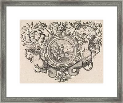 St George On Horseback Piercing A Devil, Print Maker Caspar Framed Print by Caspar Luyken And Jacob Lindenberg