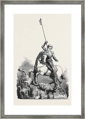 St. George Slaying The Dragon From The Old Palace At Prague Framed Print by English School
