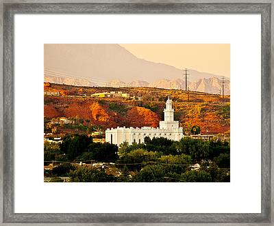 St George Temple Sunset Framed Print