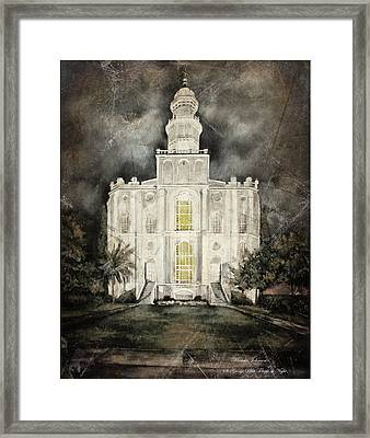 St. George Utah Temple At Night Framed Print