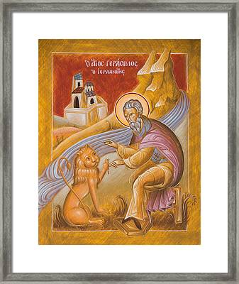 St Gerasimos Of The Jordan Framed Print by Julia Bridget Hayes