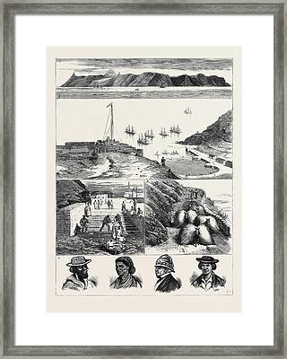 St. Helena 1. View Of The Island From The Sea 2 Framed Print by English School