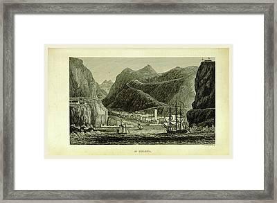 St. Helena, 19th Century Engraving Framed Print