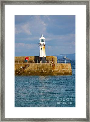 St Ives And Godrevy Lighthouses Cornwall Framed Print by Terri Waters