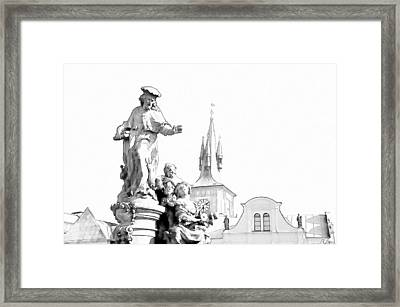 St. Ivo Statue On The Charles Bridge. Prague Framed Print by Jenny Rainbow