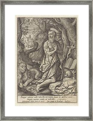 St. Jerome As A Penitent In The Desert, Hieronymus Wierix Framed Print