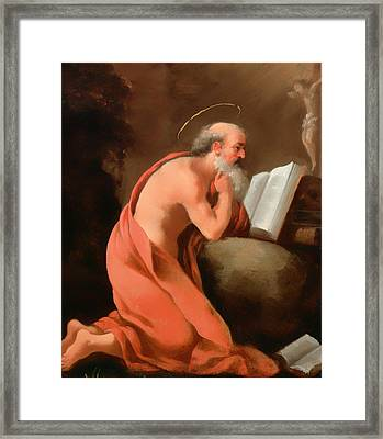 St Jerome In Penitence Framed Print by Mountain Dreams