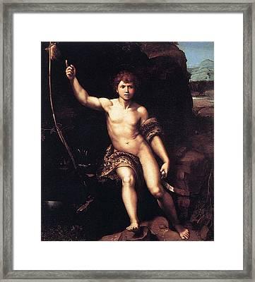 St. John The Baptist In The Desert Framed Print by Raffaello Sanzio