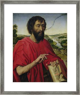 St John The Baptist, Left Hand Panel Of The Triptych Of The Braque Family Framed Print by Rogier van der Weyden