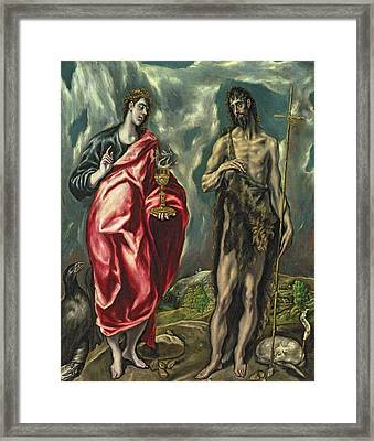 St John The Evangelist And St John The Baptist Framed Print by El Greco Domenico Theotocopuli