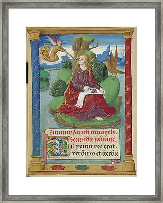 St John Writing His Gospel Framed Print