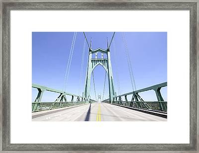 St Johns Bridge Against Clear Blue Sky Framed Print by JPLDesigns
