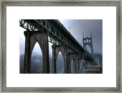 St Johns Bridge Oregon Framed Print by Bob Christopher