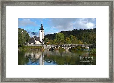 St Johns Church - Lake Bohinj Framed Print by Phil Banks