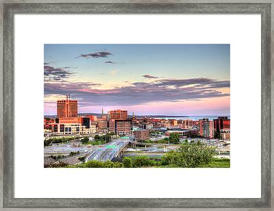 Framed Print featuring the photograph St. John's New Brunswick Sunset Skyline by Shawn Everhart