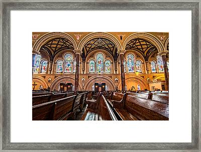 St. Joseph Church Stained Glass Framed Print by Andy Crawford