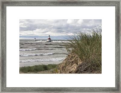 St Joseph Lighthouse And Beach  Framed Print by John McGraw