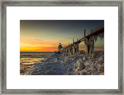 St Joseph Lighthouse At Sunset Framed Print by Jackie Novak