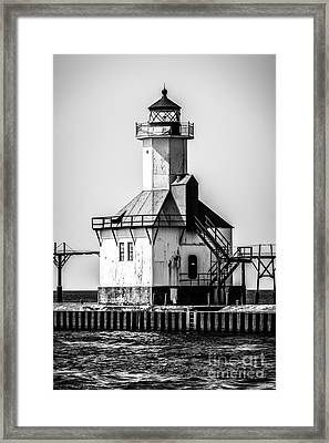 St. Joseph Lighthouse Black And White Picture  Framed Print by Paul Velgos