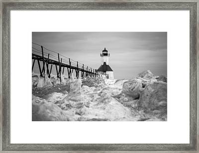 St. Joseph Lighthouse In Ice Field Framed Print