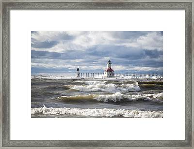 St Joseph Lighthouse On Windy Day Framed Print