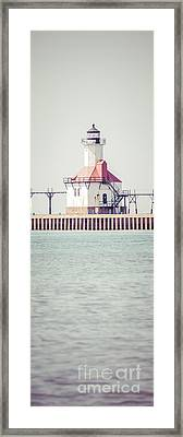 St. Joseph Lighthouse Vertical Panorama Photo Framed Print by Paul Velgos