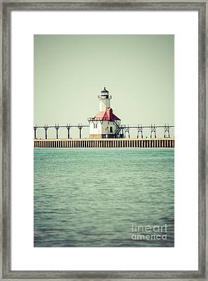 St. Joseph Lighthouse Vintage Picture  Framed Print by Paul Velgos