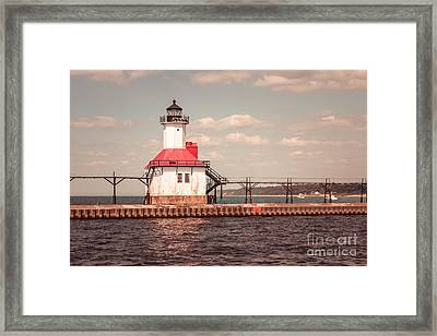 St. Joseph Lighthouse Vintage Picture  Photo Framed Print by Paul Velgos
