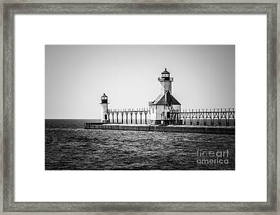 St. Joseph Lighthouses Black And White Picture  Framed Print by Paul Velgos