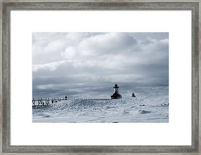 St Joseph Michigan Lighthouse In Winter Framed Print by Dan Sproul