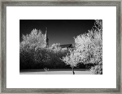 st josephs old church and rectory in Forget Saskatchewan Canada Framed Print by Joe Fox