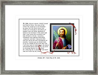 St. Jude Patron Of Hopeless Cases - Prayer - Petition Framed Print