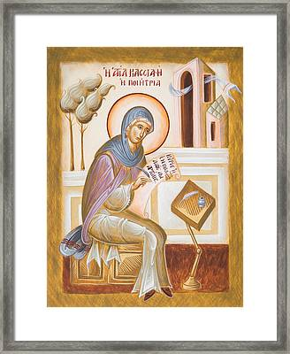St Kassiani The Hymnographer Framed Print by Julia Bridget Hayes
